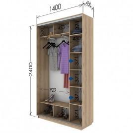 Двухдверный шкаф-купе Гарант 140х45х240 см.