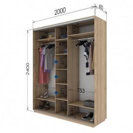 Трехдверный шкаф-купе Гарант 200х60х240 см.