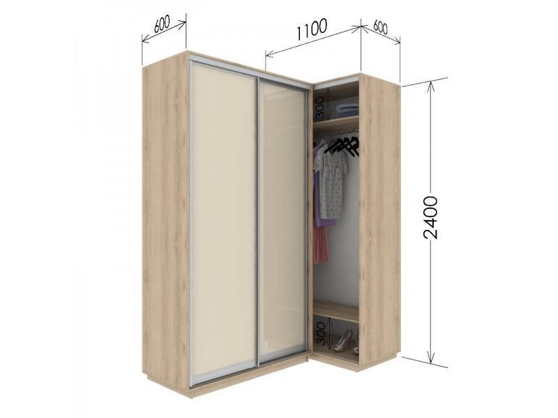 Угловой приставной шкаф-купе Гарант 110х60х240 см.