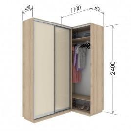 Угловой приставной шкаф-купе Гарант 110х45х240 см.