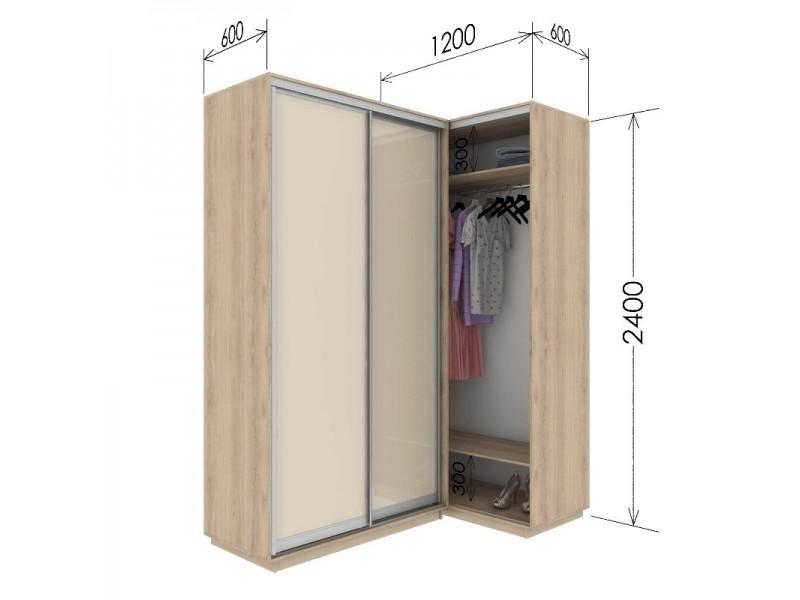 Угловой приставной шкаф-купе Гарант 120х60х240 см.
