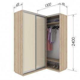 Угловой приставной шкаф-купе Гарант 130х60х240 см.