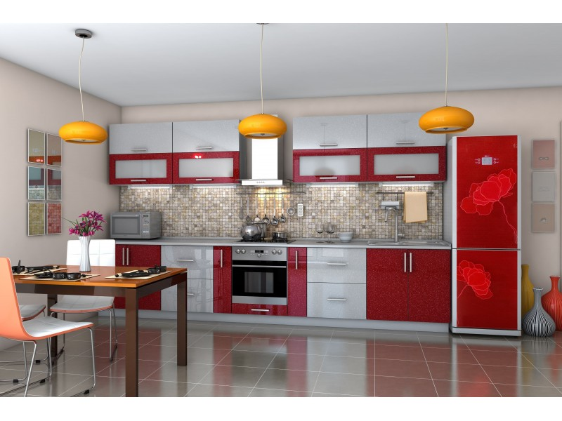 Кухня прямая Гламур красный|белый глянец