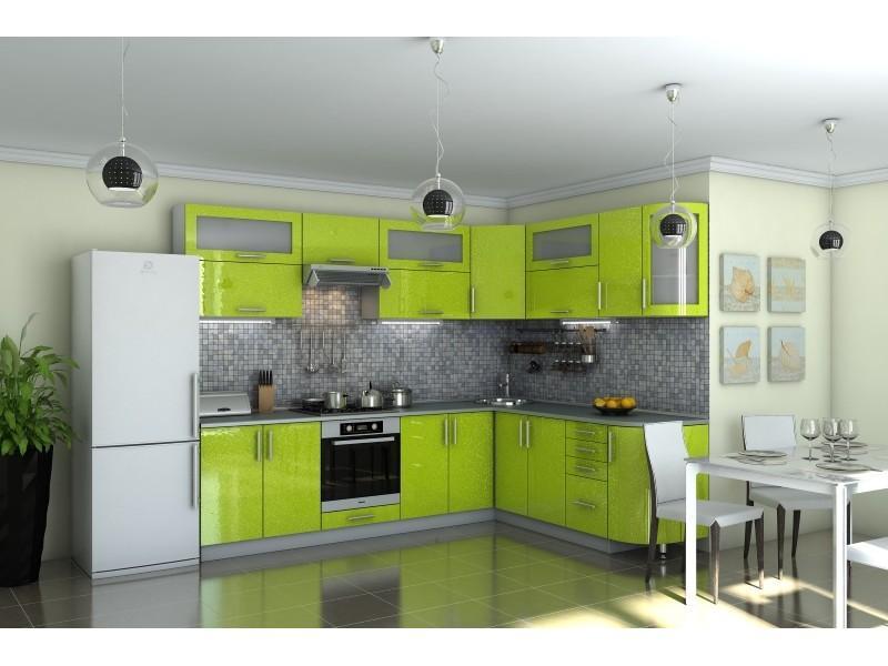 Кухня угловая Гламур лайм глянец