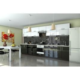 Кухня прямая Гламур черный|белый глянец