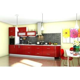 Кухня прямая Гламур красный глянец