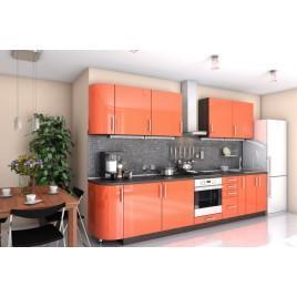 Кухня прямая Гламур оранж металик