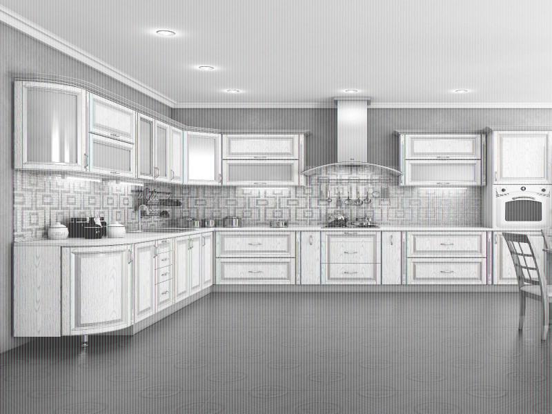 Кухня угловая Платинум белая структура