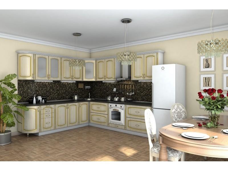 Кухня угловая Платинум ясень голд
