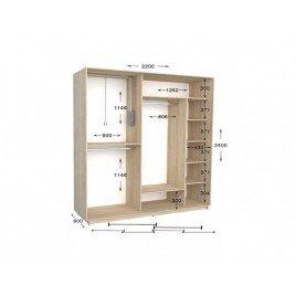 Двухдверный шкаф-купе Практик 100/2 220х60х240 см