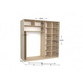 Двухдверный шкаф-купе Практик 102/2 220х60х240 см