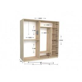 Двухдверный шкаф-купе Практик 108/2 230х60х240 см