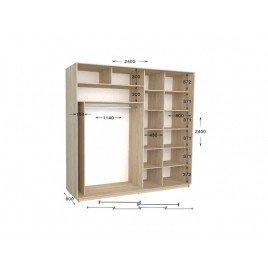 Четырехдверный шкаф-купе Практик 118/4 240х60х240 см