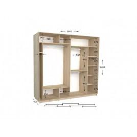 Трехдверный шкаф-купе Практик 128/3 250х60х240 см