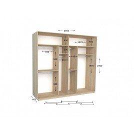 Четырехдверный шкаф-купе Практик 133/4 260х60х240 см
