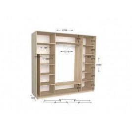 Трехдверный шкаф-купе Практик 140/3 270х60х240 см