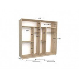 Трехдверный шкаф-купе Практик 141/3 270х60х240 см