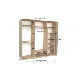 Трехдверный шкаф-купе Практик 142/3 270х60х240 см