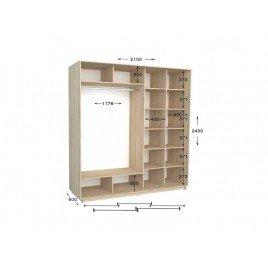 Двухдверный шкаф-купе Практик 94/2 210х60х240 см