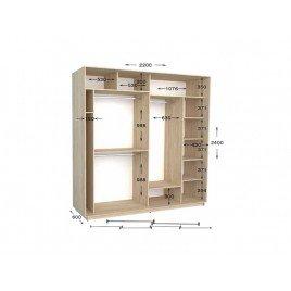 Двухдверный шкаф-купе Практик 98/2 220х60х240 см
