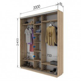Трехдверный шкаф-купе Гарант 200х45х240 см.
