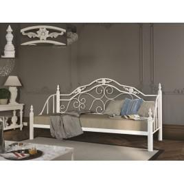 Металлическая кровать-диван Леон на деревянных ногах