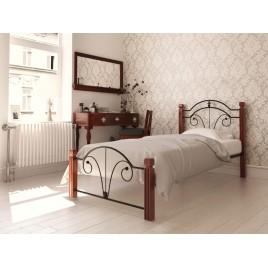 Металлическая кровать Диана на деревянных ногах (односпальная)