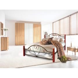 Металлическая кровать Джоконда на деревянных ногах