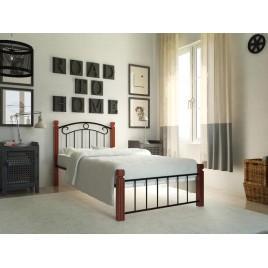 Металлическая кровать Монро на деревянных ногах