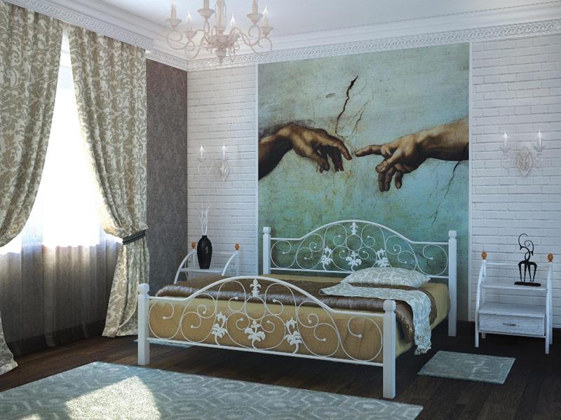 Металлическая кровать Жозефина на деревянных ногах