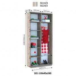 Двухдверный шкаф купе Стандарт 110*45*240 см