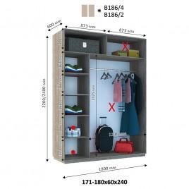 Двухдверный шкаф купе Стандарт 180*60*240 см