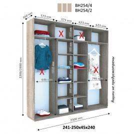 Трехдверный шкаф купе Стандарт 250*45*240 см