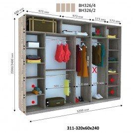 Четырехдверный шкаф купе Стандарт 320*60*240 см