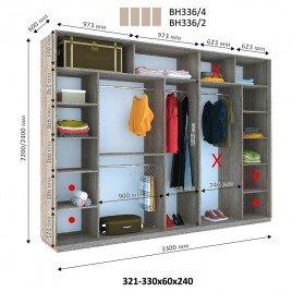 Четырехдверный шкаф купе Стандарт 330*60*240 см
