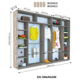 Четырехдверный шкаф купе Стандарт 340*45*240 см
