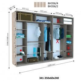 Четырехдверный шкаф купе Стандарт 350*60*240 см