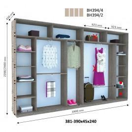 Четырехдверный шкаф купе Стандарт 390*45*240 см