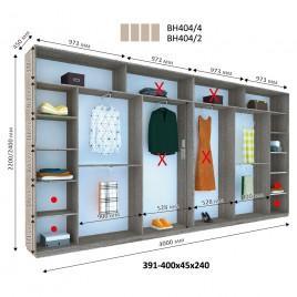Четырехдверный шкаф купе Стандарт 400*45*240 см