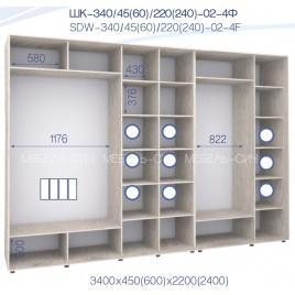 Четырехдверный шкаф-купе ШК 02-4Ф-24 (340*45*240 см.)