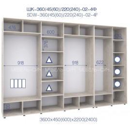 Четырехдверный шкаф-купе ШК 02-4Ф-24 (360*60*240 см.)