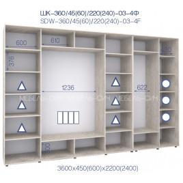 Четырехдверный шкаф-купе ШК 02-4Ф-24 (360*45*240 см.)
