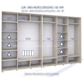 Пятидверный шкаф-купе ШК 02-5Ф-24 (380*45*240 см.)