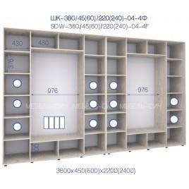 Четырехдверный шкаф-купе ШК 04-4Ф-24 (380*45*240 см.)