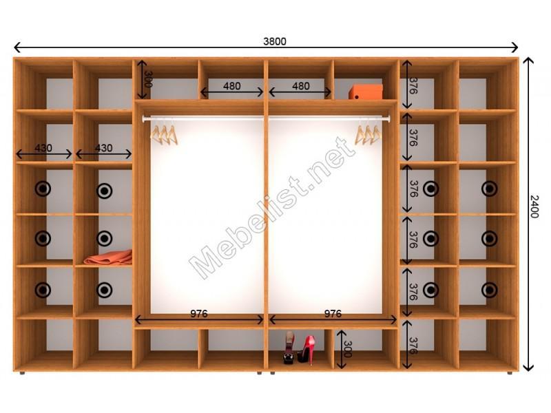 Четырехдверный шкаф-купе ШК 10-10-24 (380*60*240 см.)