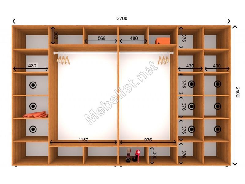 Четырехдверный шкаф-купе ШК 9-10-24 (370*60*240 см.)