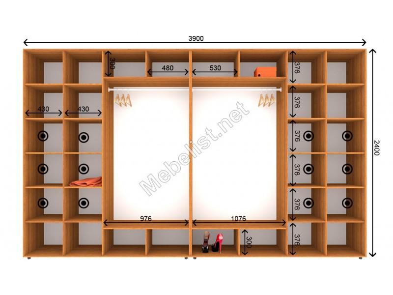 Четырехдверный шкаф-купе ШК 10-11-24 (390*60*240 см.)