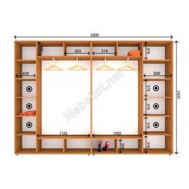 Четырехдверный шкаф-купе ШК 23-24-24 (350*45*240 см.)