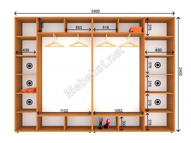 Четырехдверный шкаф-купе ШК 22-23-24 (330*45*240 см.)