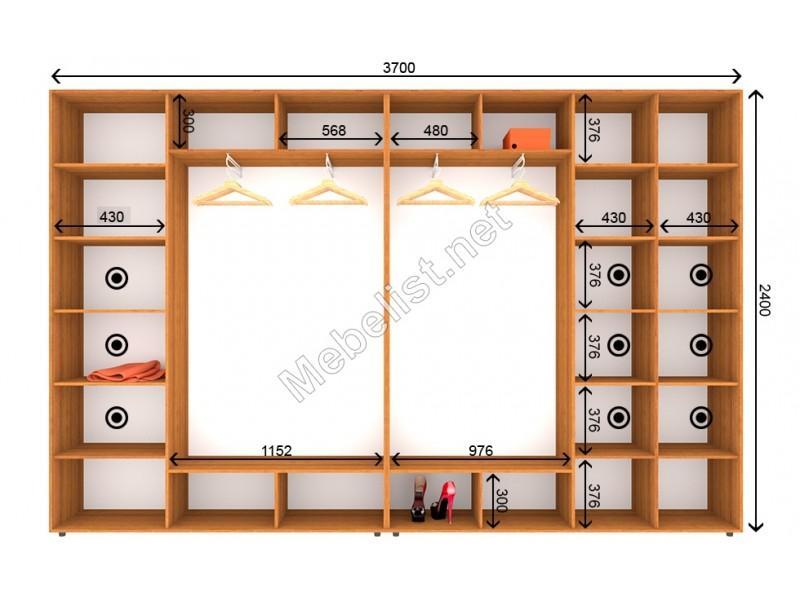 Четырехдверный шкаф-купе ШК 24-25-24 (370*45*240 см.)
